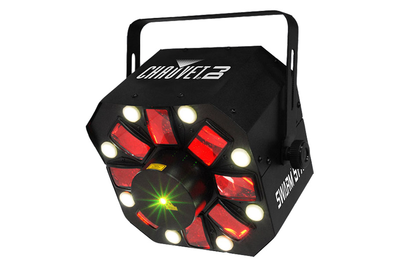 Chauvet Swarm 5 FX    For movement and colorful effects at any event, Swarm 5 FX is a 3-in-1 LED effect light.