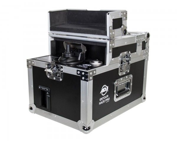 Entour Haze Professional Tour Haze    Part of the expanding ADJ Entour Series of atmospheric machines, the Entour Haze Pro is a touring-grade haze machine built into a durable flight case. It requires no warm-up time and, with an air pressure of 101psi, is able to generate an impressive output of 3,000 cubic ft. per minute.