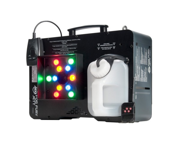 Fog Fury Jett with 12x3w RGB LEDs    The Fog Fury Jett produces a dry even blast of fog over 25 feet (7 meters) in the air. It has a special heating element design that uses an oil type transmission throughout the pipeline to prevent clogging.
