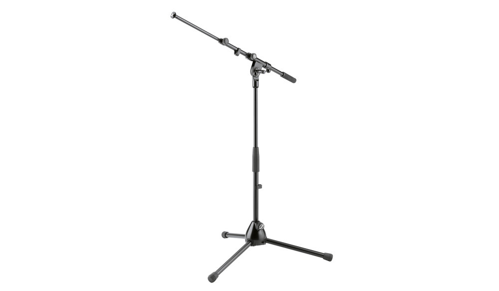 Mic Stand Short    Low-level, telescopic stand with foldable legs. Comes with 2-piece boom arm.