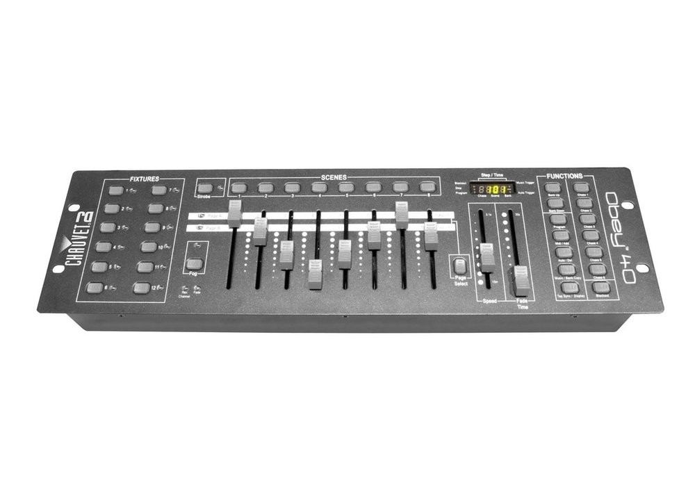 Chauvet Obey 40    A compact lighting desk which is capable of operating 12 intelligent fixtures.