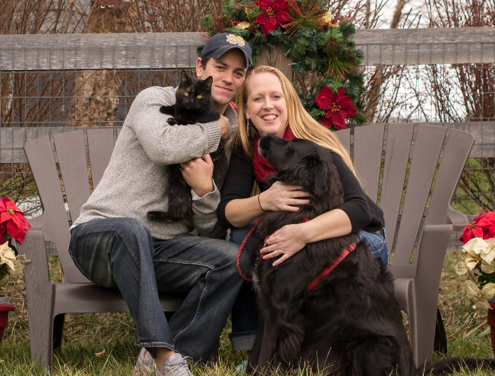 Jennifer with her husband and pets.