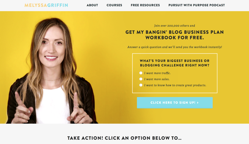 Melyssa Griffin Homepage with example of her homepage opt-in