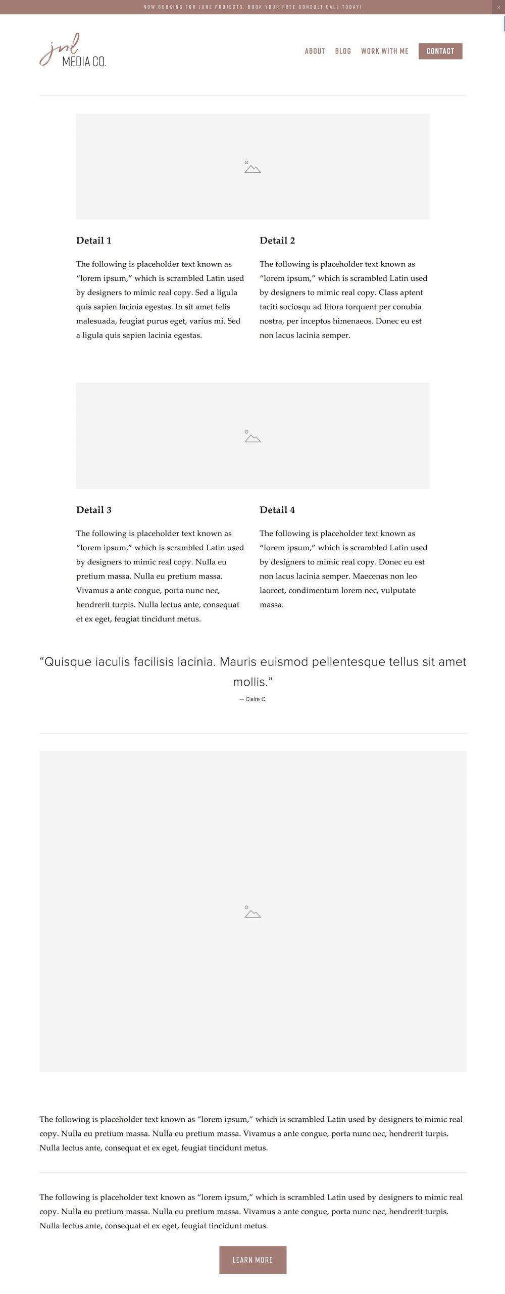Wireframe created on Squarespace