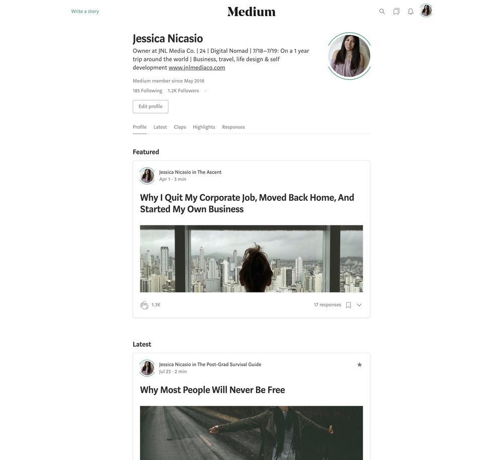 My Medium profile