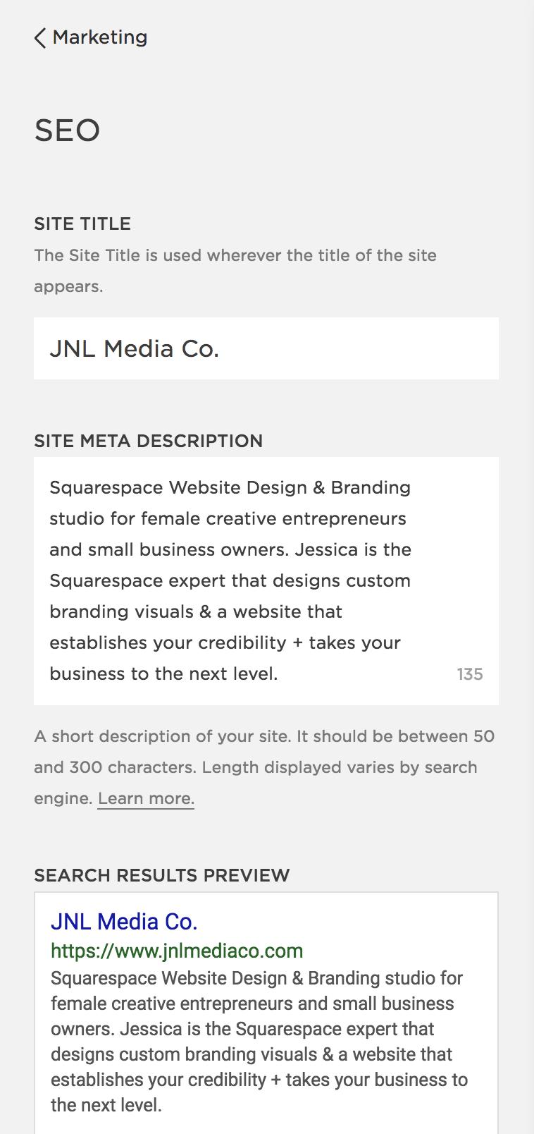 SEO Description on Squarespace