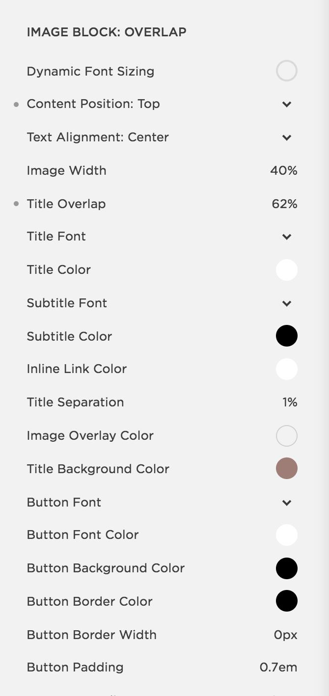 Overlap settings on Squarespace