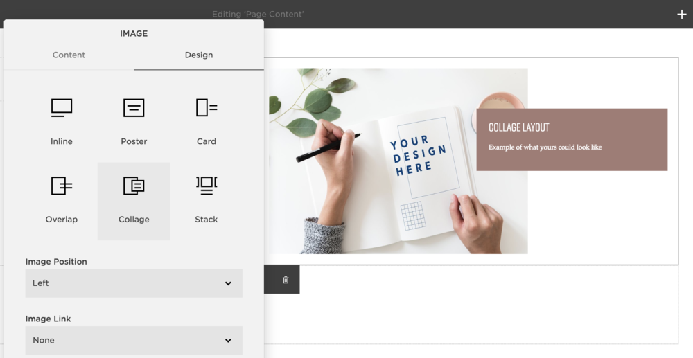 Collage layout on Squarespace