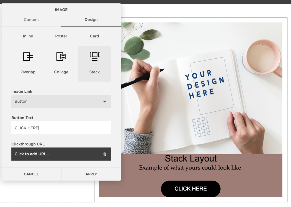 Stack layout on Squarespace