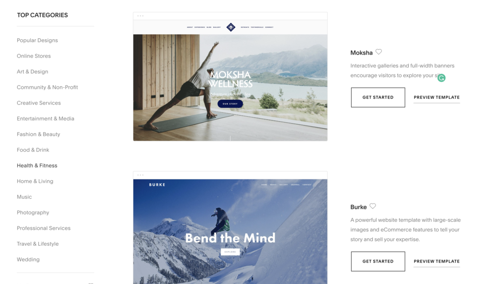 Squarespace Template Categories