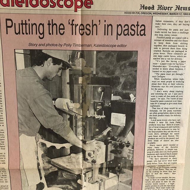 This resurfaced at last night's fiesta.  An article from the Hood River's News paper 1993! #😳 #imustbeold #ilovepasta