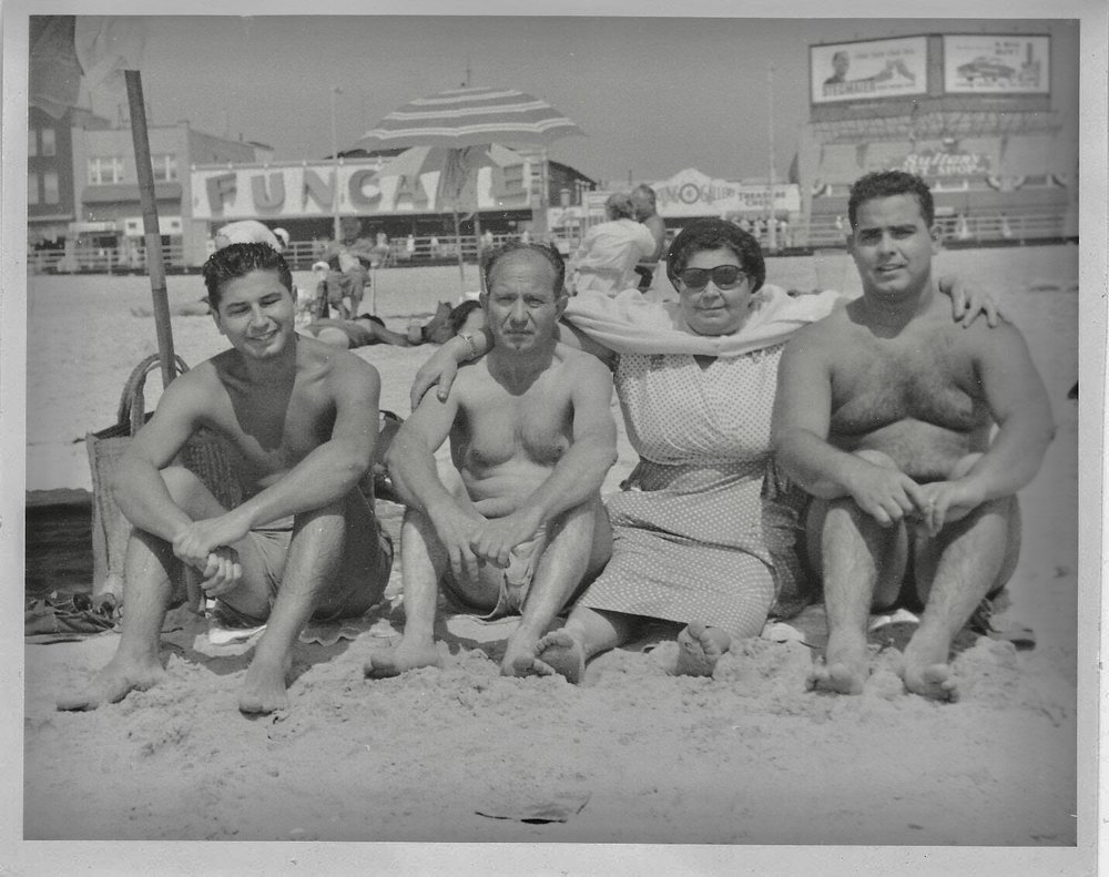 the carfagno's in atlantic city (from L -> r salvatore, vincenzo sr., rosina, pasquale) -- vincenzo jr. (roland's father) took the picture