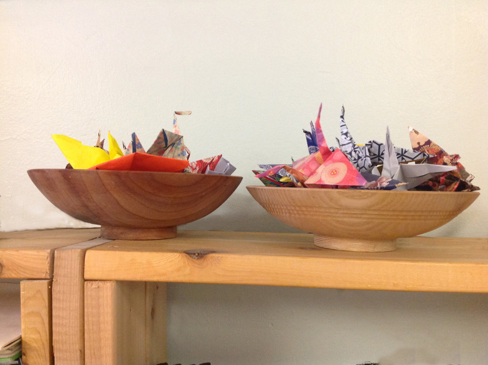 "A collection of our lovely cranes...Origami is a ""crowd favorite""."