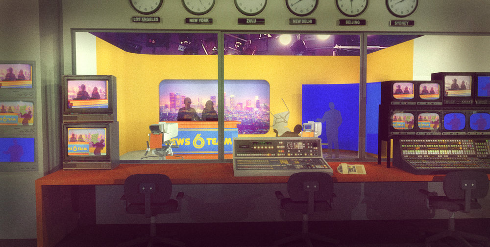 NEWS TEAM SIX,CONTROL ROOM VIEW - 3D RENDERING
