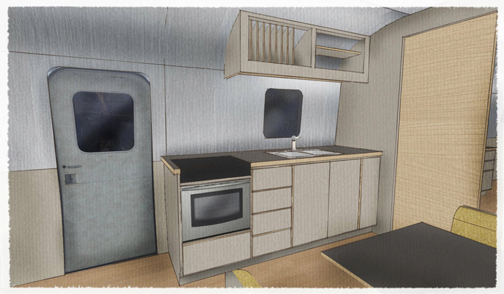 SIOBHAN'S TRAILER - 3D MODEL KITCHEN VIEW