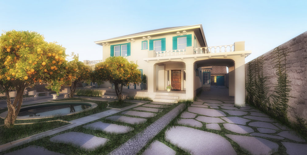 EXTERIOR LANDSCAPING, HOUSE ENTRY - RENDERING