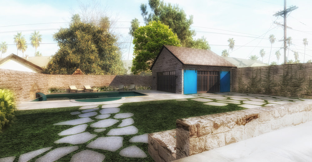 EXTERIOR LANDSCAPING, NEW POOL AND POOL HOUSE - RENDERING