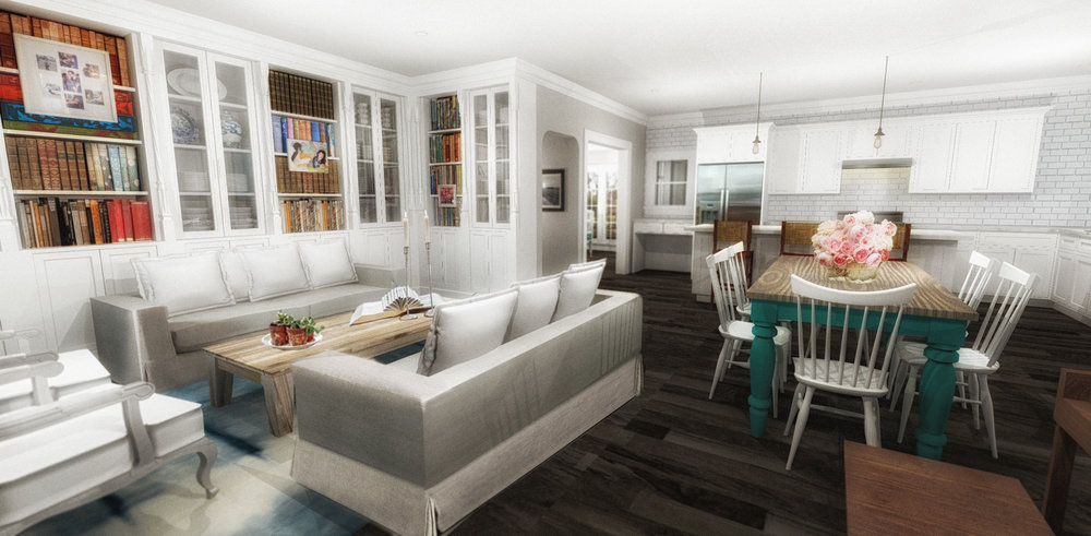 FAMILY ROOM AND INFORMAL DINING - RENDERING