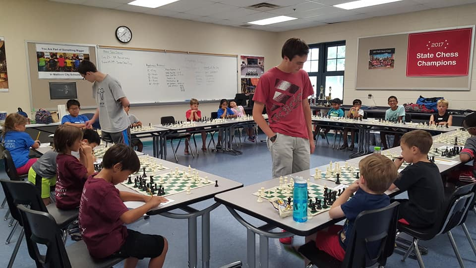 A simul from the 2018 Madison City Chess League Summer Camp. Photo Credit: Ranae Bartlett