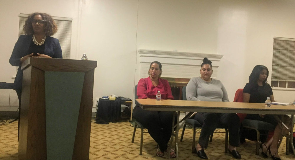 Attorney Jill Carter moderated a Q & A session with panelists and audience members.