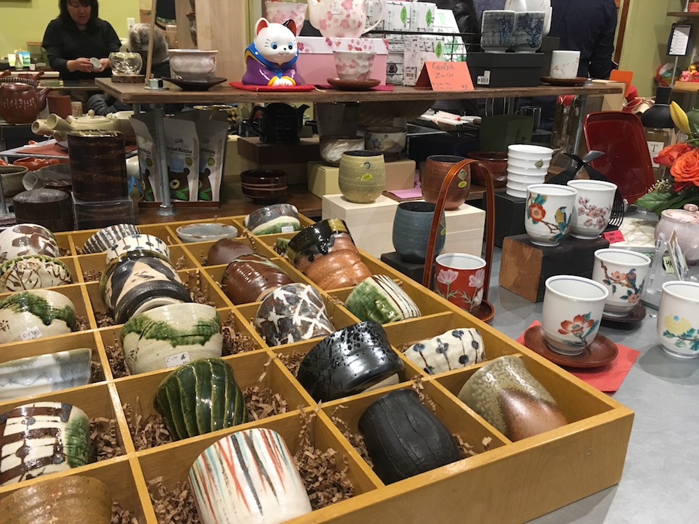 Teaware on display at ChaTo in the Japantown Mall, San Francisco.