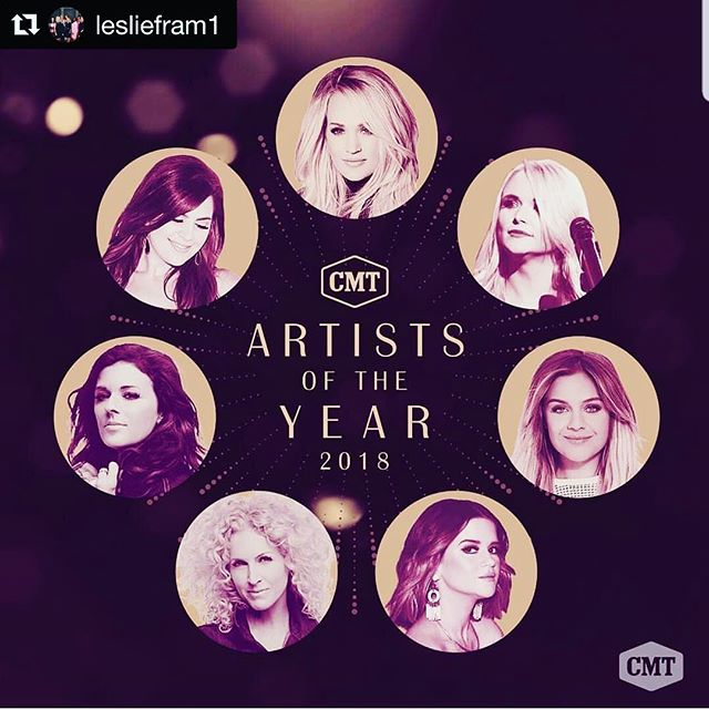 Yes yes yes 👏🏼👏🏼👏🏼 thank you to one of our biggest supporters @lesliefram1 and @cmt #womenincountrymusic  #Repost @lesliefram1 with @get_repost ・・・ So honored, proud and over-the-moon about #CMTAOTY celebration of women!  @carrieunderwood @mirandalambert @kelseaballerini @marenmorris @karenfairchild @ohgussie @hillaryscottla  October 17th @cmt ❤❤❤❤❤