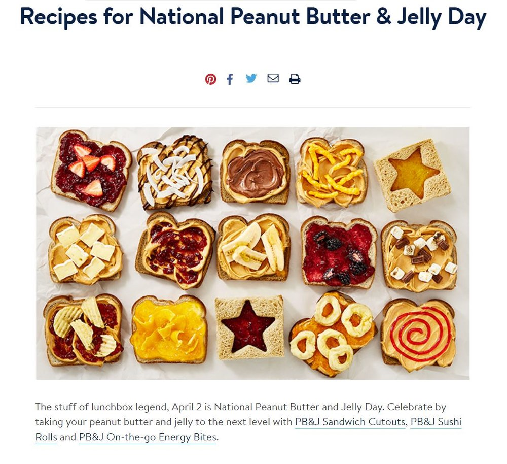 Recipes for National Peanut Butter & Jelly Day - A recipe roundup featured on Walmart's Instagram.