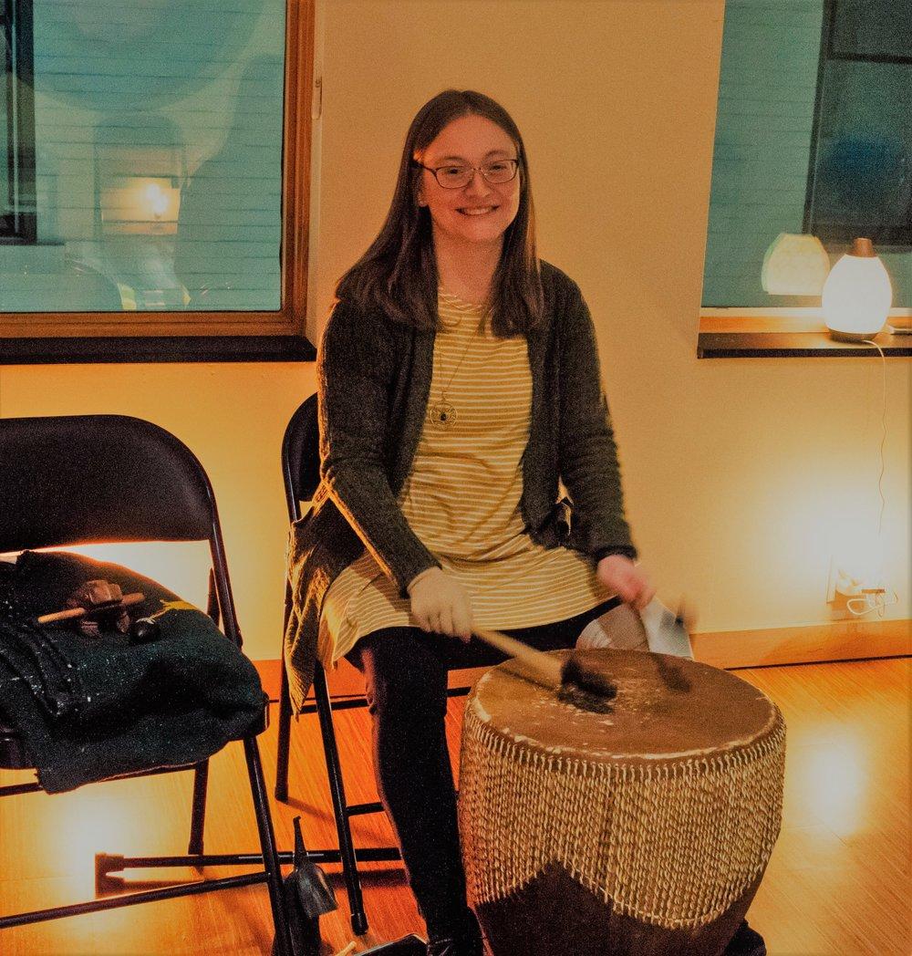 Stephanie and large drum awaken.jpg