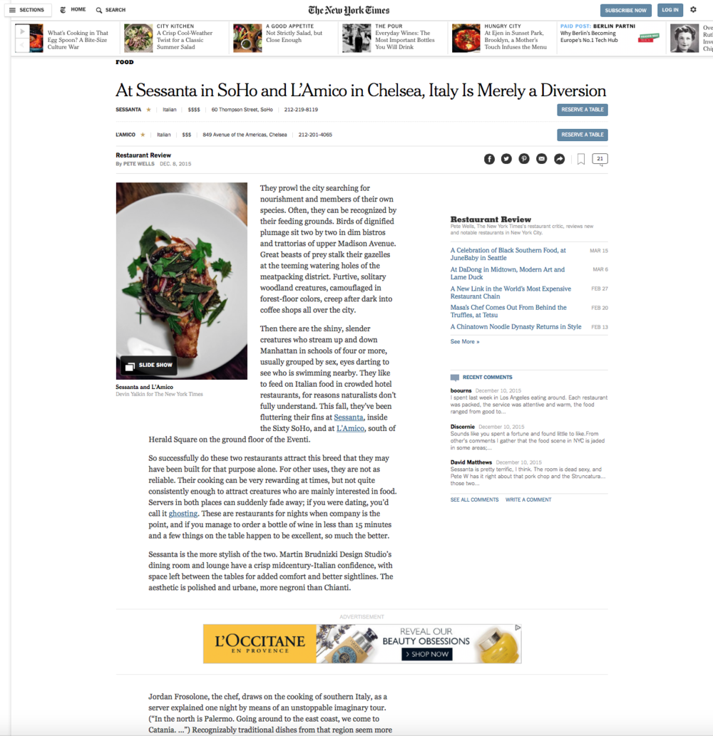 NEW YORK TIMES - FOOD  L'AMICO