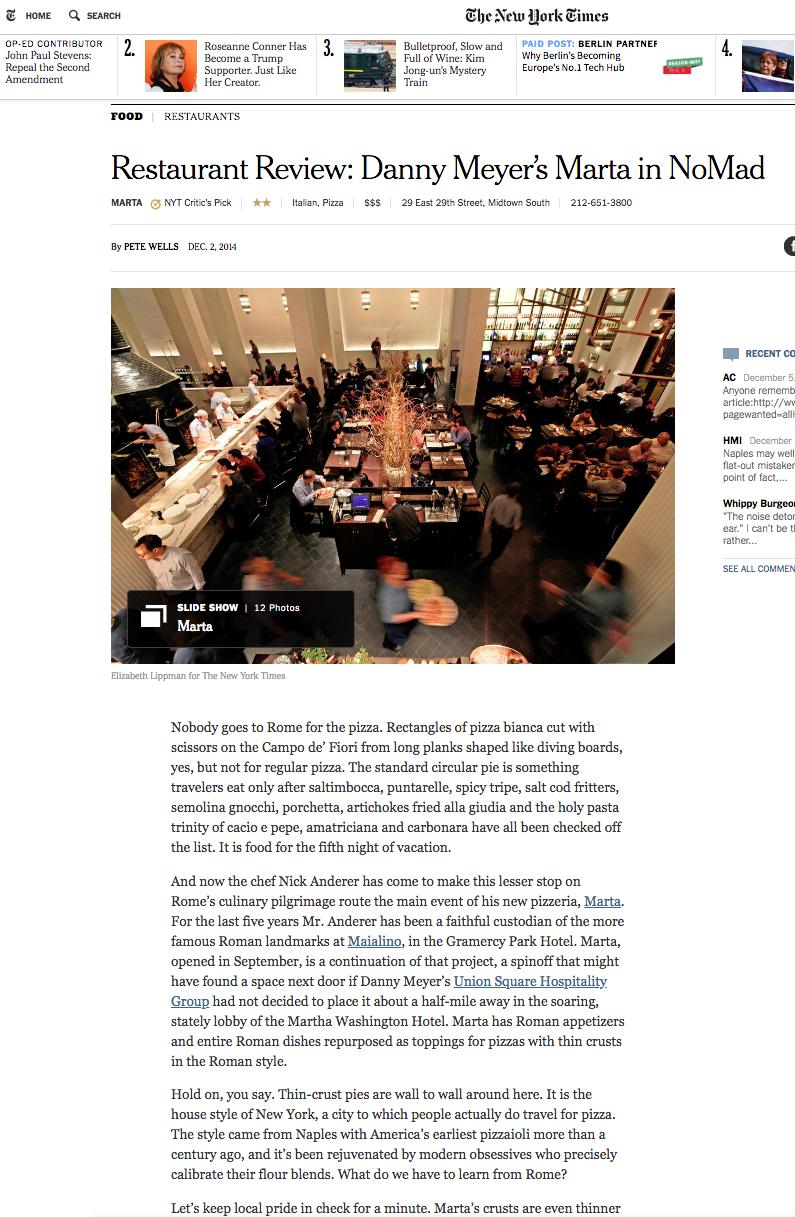 NEW YORK TIMES: FOOD  MARTA