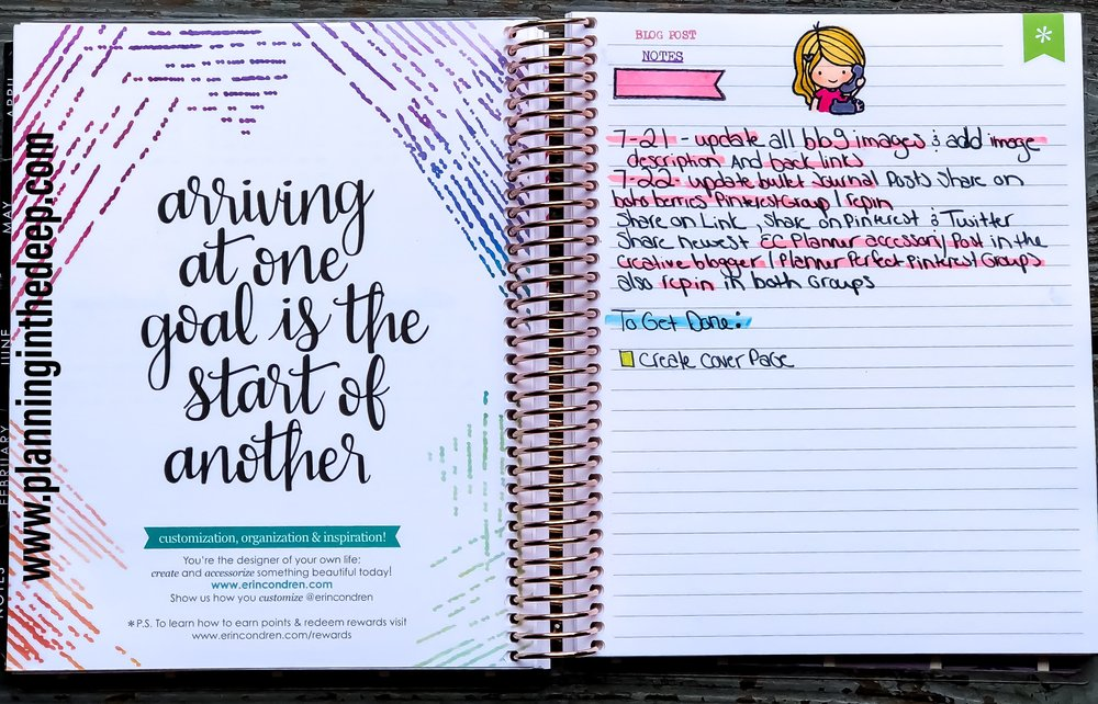 Erin Condren Monthly Deluxe Planner Note Section.
