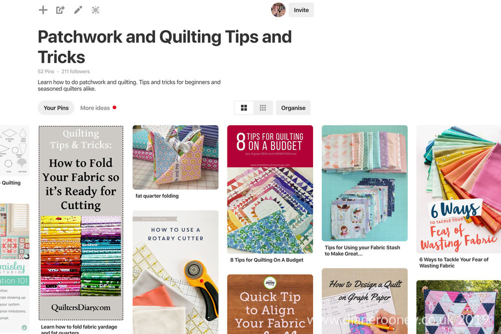 Diane Rooney Pinterest Board Quilting Tips & Tricks