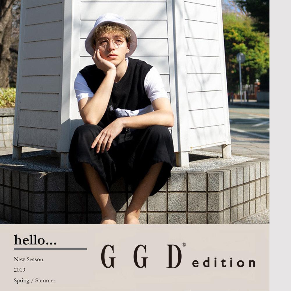 GGD edition - いつの時代も受け継がれるアメリカンカジュアルと自由個性豊かなフレンチカジュアルをベースにその時代の流行の色やデザインを融合させ、あくまで自分らしく 新しいリアルクローズを提案していくブランドです。