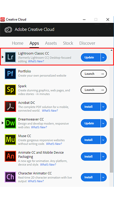 Creative cloud application window with update buttons