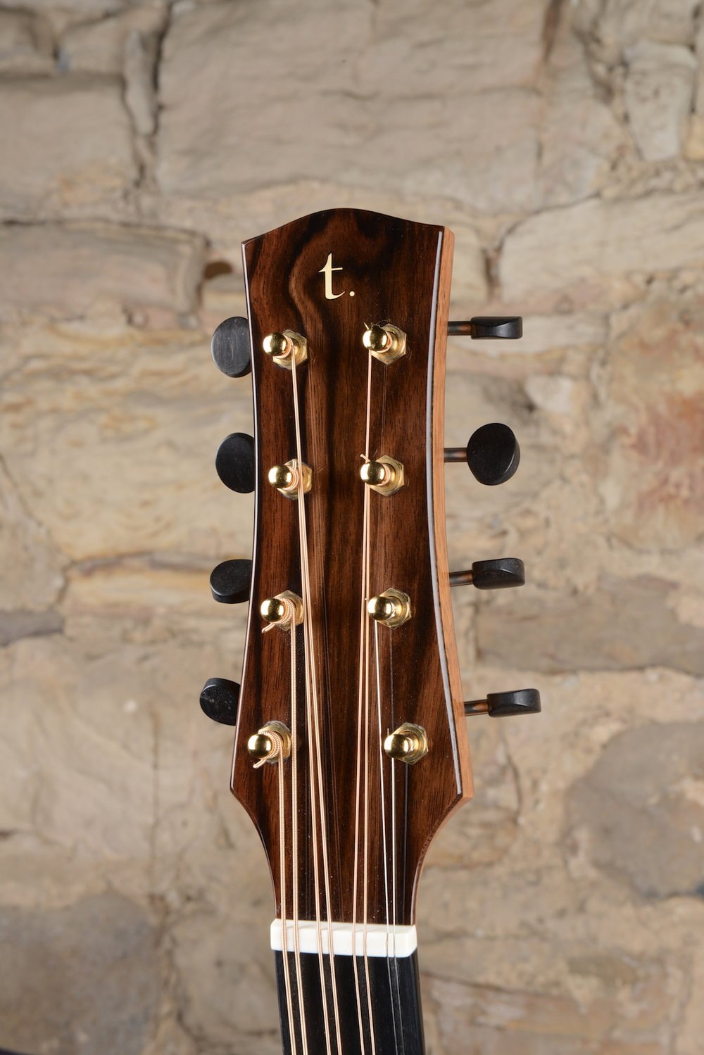 Ebony headstock front and back with straight pull headstock shape design