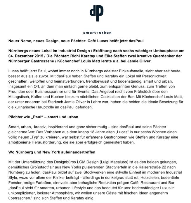 Pressemitteilung dasPaul