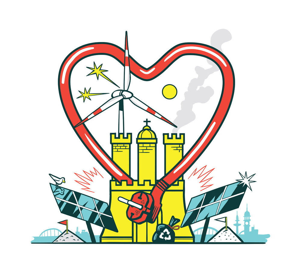New energy Hamburg (editorial illustration for the Hamburger Wirtschaft magazine)