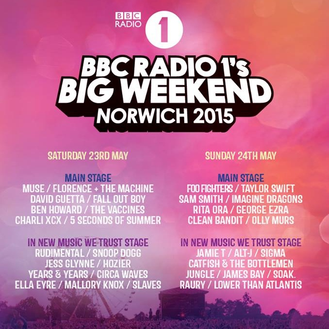 In 2015 I landed a competitive work placement to work behind the scenes with the infamous  Needs Group  at BBC Radio 1's Big Weekend. Despite it being my first experience in artist liaison, I kept a cool head in the presence of 'music royalty' including Florence + The Machine, Foo Fighters and Taylor Swift.