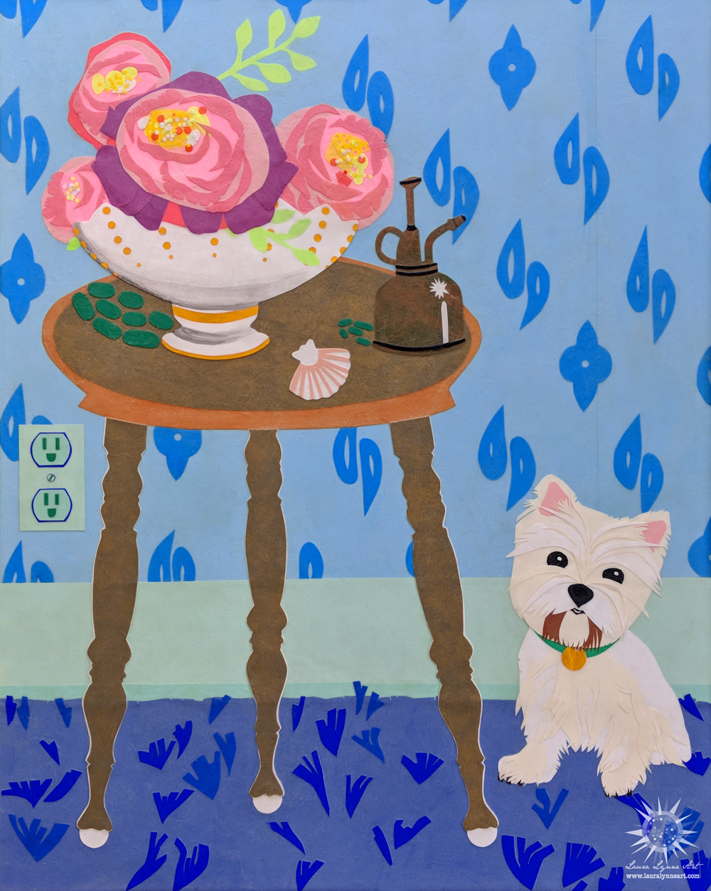 Still life with West Highland Terrior and Peonies on a Table with Blue Wallpaper by Laura Lynne Art.jpg