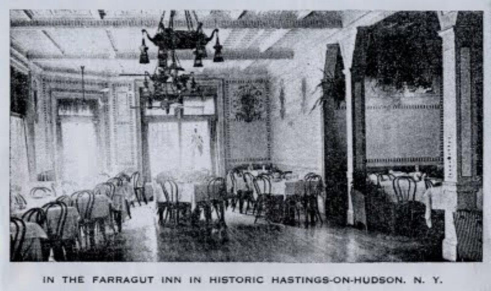 The dining room of the Farragut Inn, photograph courtesy of the Hastings Historical Society.