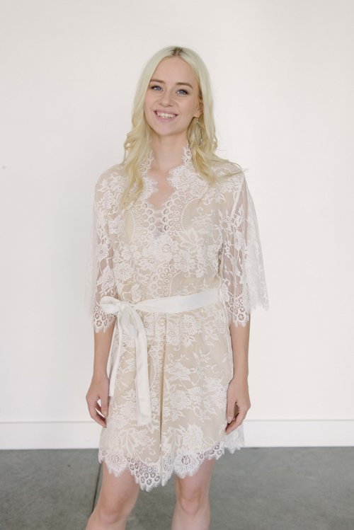 7a1f13ecbd4 Girl   a Serious Dream Swan Queen Lined Lace Kimono Robe in Ivory Nude
