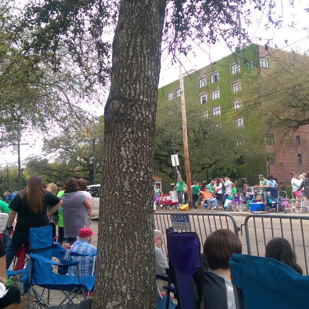 Waiting for the parade to start, good times in Nola