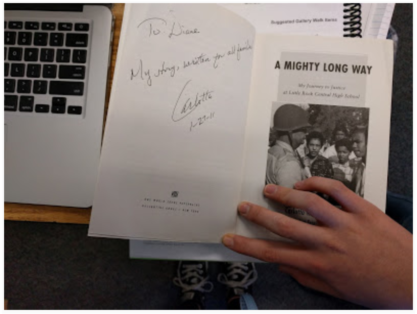 One of my 8th graders brought in an autographed copy of  A Mighty Long Way.