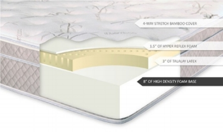 "This is a typical ""latex hybrid"" build, which typically only incorporates a small, 2-3"" layer of either natural latex or synthetic latex. These beds are substantially less expensive than a top to bottom latex mattress, and will not deliver the same buoyancy, springy, and lively feel. You'll still enjoy limited pressure point relief, but without the full experience or the hypoallergenic and chemical free qualities that pure latex can offer."