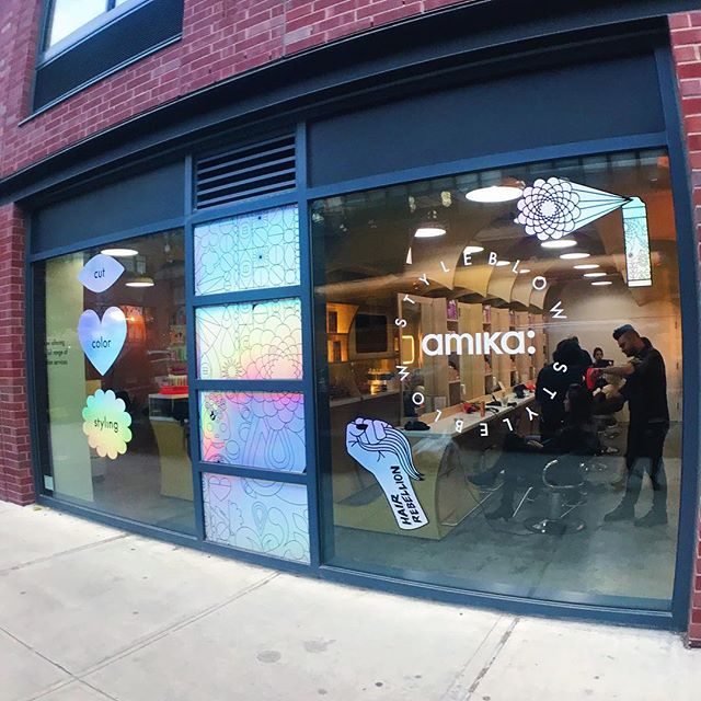 How cute are our holographic stickers outside the salon🤩🤩 tip: they are really cute to take pictures in front of come say hi 👋