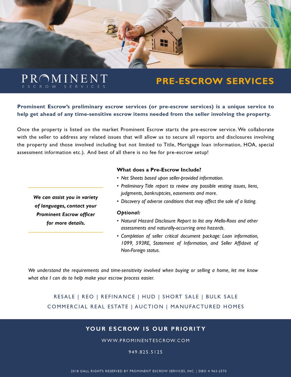 Pre-Escrow Services