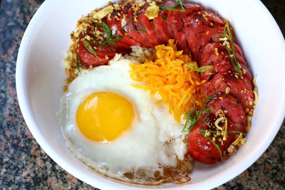 HOUSE MADE PORK LONGGANISA, GARLIC FRIED RICE, ATCHARA, SUNNY EGG