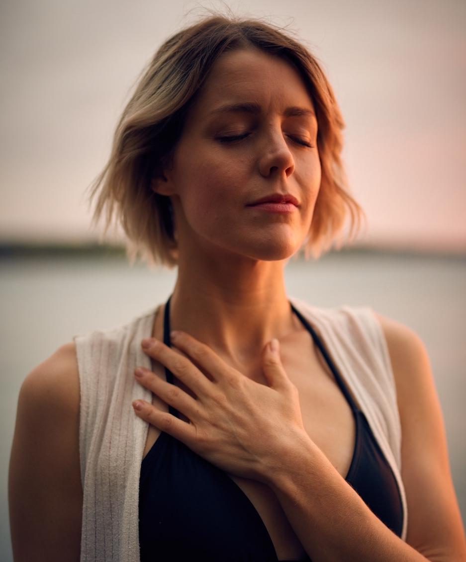 woman meditation self care
