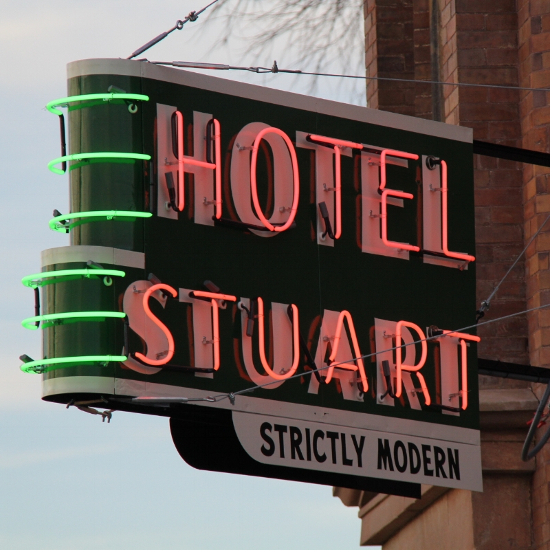 Hotel Stuart neon sign restored