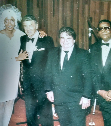 Louie Bellson asked Murphy to be the premier soloist of a group of drummers at his 1992 wedding. Left to Right: Francine Bellson, Louie Bellson, Paul F. Murphy, Eddie Gale.